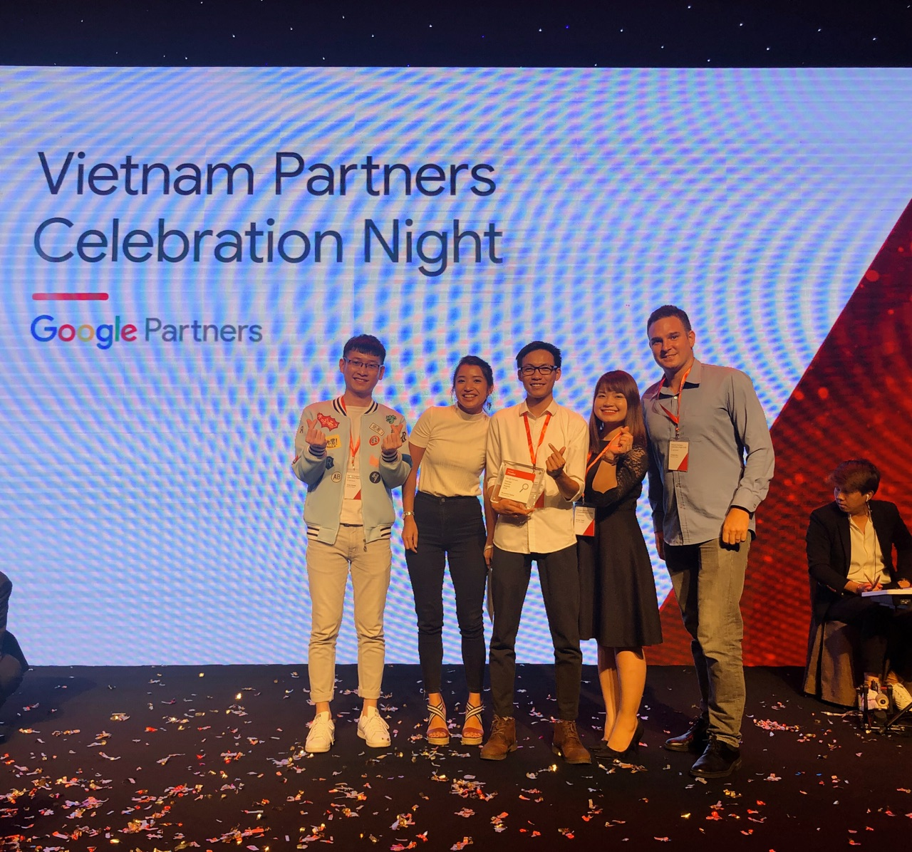 Bluesummit team on stage at Google Premier Partner's Awards Event 2018.